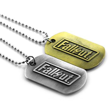 Game Fallout 4 necklac Metal Dog Tags pendant cosplay accessories