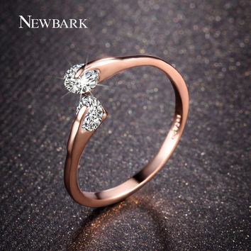 NEWBARK 18K Rose Gold Plated Fashion Design Twin Zircon CZ Engagement Wedding Band Ring For Woman And White Gold Plated