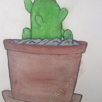 Art, watercolour, painting, art home decor, wall art, watercolor painting, birthday gift, cactus, housewarming gift, flower