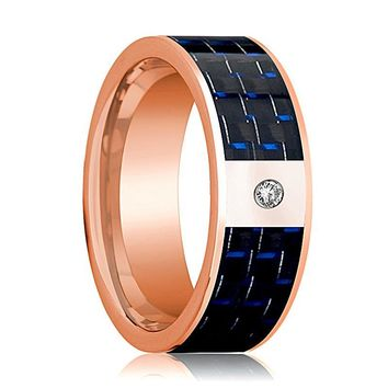 Mens Wedding Band 14K Rose Gold and Diamond with Blue & Black Carbon Fiber Inlay Flat Polished Design