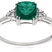 10k Gold May-Birthstone Created Emerald and Diamond Ring