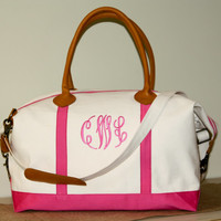 Leather Trimmed Monogrammed Weekender Travel Bag. Over night bag. Top Quality Canvas. Pink Trim. Monogrammed or personalized. Travel Bag.