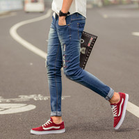 Jeans Stylish Casual Men Slim Ripped Holes Denim Pants Korean Skinny Pants [6541376067]