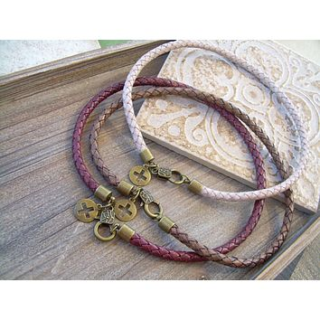 Braided Leather Bolo Necklace with Round Bronze Cross