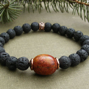 Men's Lava Bracelet, Black Stone, Red Creek Jasper, Hammered Copper, Rustic, Unisex, Stretch, Casual, Lava Stone Jewelry, Gift Idea