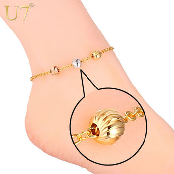 Gold Anklet Bracelet For Women Foot Jewelry  18K Gold/Platinum/Rose Gold Plated Cute Ball Two Options Bracelets For Leg A317