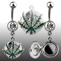 "14g Dangling Pot Leaf Locket Sexy Belly Button Navel Ring Dangle Body Jewelry Piercing with Clear Cz and Surgical Steel Bar 14 Gauge 3/8"" Nemesis Body JewelryTM"