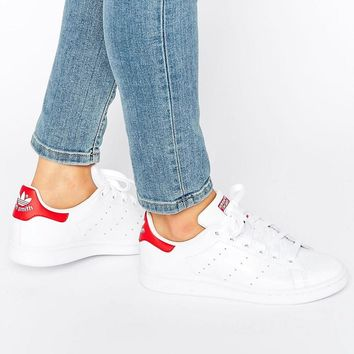 Adidas | adidas Originals White And Red Stan Smith Sneakers at ASOS