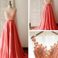 A-Line Prom Dresses ,Applique Prom Dress,Long Evening Dress