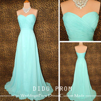 Special Price! Custom Made Strapless Turquoise Prom Dress,Chiffon Prom Dress,Bridesmaid Dress,Long Wedding Party Dress