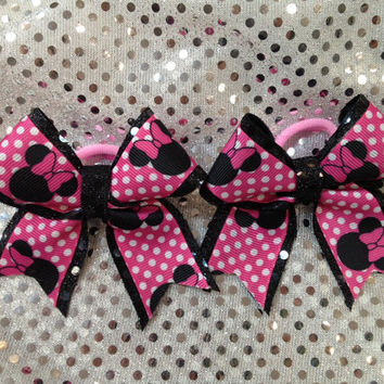 Set of 2- Minnie Mouse Ponytail Holder  Bow Ribbon Cheer Dance School