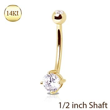 14Kt Yellow Gold 12mm Navel Ring with Clear Round Prong Set CZ