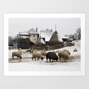 Unique winter scene from Transylvania Art Print by Sagacious Design