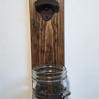 Cast iron bottle opener on wood base with cap catcher, rustic beer opener, wall mount opener stock the bar groomsman gift for dad mason jar