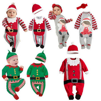 PPY-78,2016 Christmas Baby rompers Costume kids newborn clothes long sleeve spring children infant clothing set top+hat