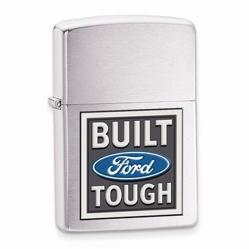 Zippo Ford Brushed Chrome Lighter - Engravable Personalized Gift Item