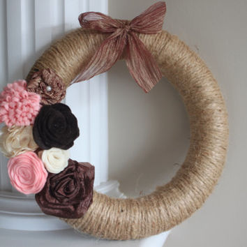 Twine Wrapped Wreath, Felt Flowers, Home Decor, Wedding Decor, Front Entrance, Door decor, Rustic Wedding, Gift, Rustic Home, Shabby Chic