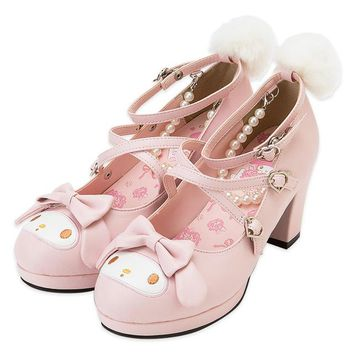 Japanese Lolita Shoes High Heel Pink princess Cute Bow Tie Rabbit Cross Strap Shoes for Woman Girl Cos Cosplay Shoes White Pink