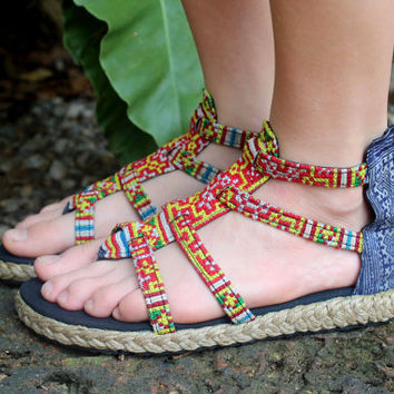 Boho Womens Gladiator Sandals In a Yellow Mix Hmong Embroidery And Indigo Batik Summer Shoes