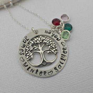 Sterling Silver Family Tree Tree Hand Stamped Necklace - Custom Tree Necklace - Birthstone Tree of Life - Hand Stamped Family Tree Necklace