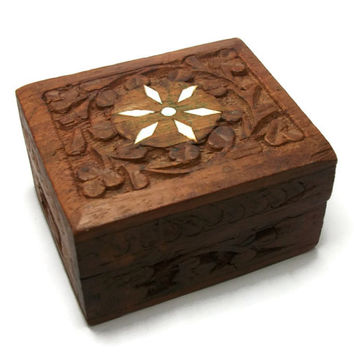 Vintage Hand Carved Wood Small Wooden Trinket Box Keepsake Ring Box Made in India - White Flower Inlaid Design - Purple Felt Inside