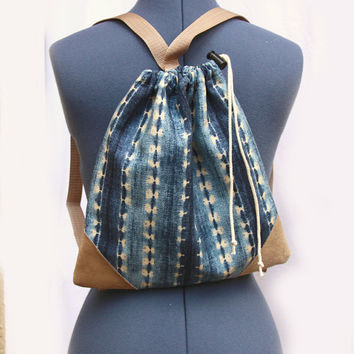 Blue Beige Backpack Lined -  Tie Die - Western - Gift for Her - READY TO SHIP