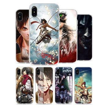 Cool Attack on Titan Transparent Soft Silicone Phone Cases  Anime Style for Apple iPhone X 8 7 6 6s Plus 5 5S SE 5C AT_90_11