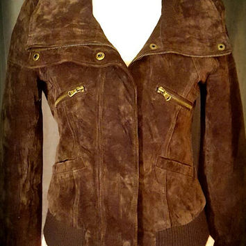 Brown Suede Jacket, Guess, Women's Small, Bomber, Vintage, 80's, Gold Zippers, pockets, fitted