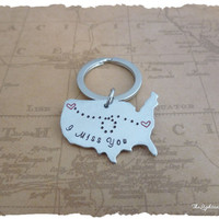 Long Distance Relationship Necklace - I Miss you - Map - USA - LDR - Long Distance Love