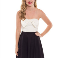 Black & White Strapless Bow Dress *MADE IN USA!*