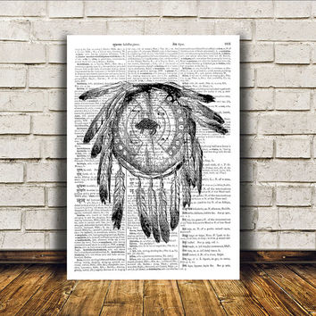 Native American print Dreamcatcher poster Tribal art Wall decor RTA306