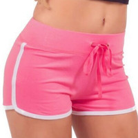 Pink Contrast Trims Drawstring Yoga Shorts