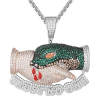 Trust No One Snake Bites Hand Bling Rapper Pendant Chain