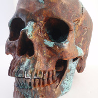 Human Skull Taxidermy Rust with Bronze Natural Turquoise Patina Painted Art Sculpture