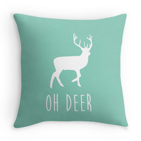 "Mint Green ""Oh Deer"" Decorative Pillow, 16x16 Anter Pillow Cover, Minimalist Art, Rustic, Typography Pillow"
