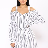 By Chance Stripe Dress - Navy Stripe