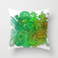 Floral Indian Pattern 01 Throw Pillow by Aloke Design