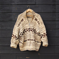70's Cowichan Sweater, Chunky Knit Oversized Sweater, Southwestern Native Wool Sweater, Brown Ivory Hand knit Zip Up Sweater, LARGE XL
