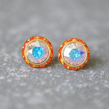 Aurora Borealis Earrings Swarovski Crystal Pastel Rainbow Northern Lights Tangerine Orange Rhinestone Studs Sugar Sparklers Small Mashugana