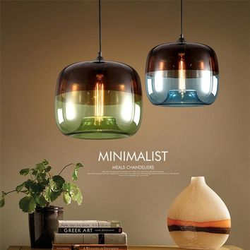 Modern Nordic colorful hanging Glass Pendant Lamp Fixtures E27 LED Lights