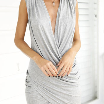 Grey Ruched Sleeveless V-Neckline Wrap Bodycon Dress