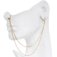 Handcrafted Pirate Booty Gold Plated Ear to Nose Chain 20 Gauge 5/16""