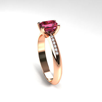 Pink Tourmaline engagement ring, Rose Gold, Emerald cut, tourmaline, Solitaire, Engagement ring, Diamond, pink, red gold ring, yellow gold