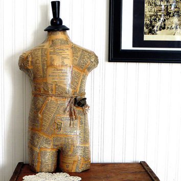 Dress Form Mannequin Child Upcycled with Vintage Dictionary Book Pages