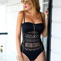 Solid Color Strap One Piece Swimsuit Swimwear