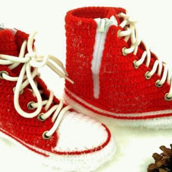 converse all star red canvas red converse high top sneaker crochet converse slippers