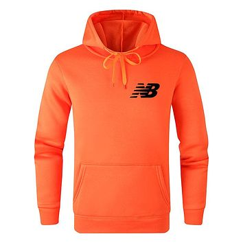 New Balance Autumn And Winter New Fashion Bust Side Letter Print Women Men Leisure Hooded Long Sleeve Sweater Top Orange