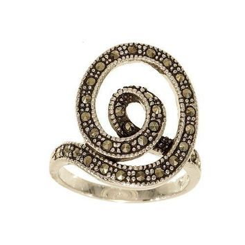 Unique Silvertone Ribbon Fashion Ring Covered with Genuine Marcasite Stones