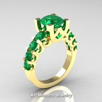 Modern Vintage 14K Yellow Gold 3.0 Carat Emerald Designer Engagement Ring R142-14KYGEM