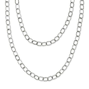 Stainless Steel Multi Chain 28in Layered Necklace